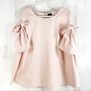 Worthington pale pink butterfly sleeve blouse